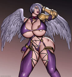 big_breasts blue_eyes breasts cleavage clothing female female_only hair hair_over_one_eye huge_breasts inknox isabella_valentine large_breasts navel pose solo soul_calibur thick_thighs thighs video_games white_hair wings