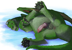 2016 4_toes absurd_res animal_genitalia anus balls claws digitigrade disney dragon elliot_(pete's_dragon) erection feral fur furred_dragon hi_res hindpaw knot long_neck looking_at_viewer lying male male_only narse nude on_side pawpads paws penis pete's_dragon pete's_dragon_(2016) sheath soles solo spread_legs spreading toes vein veiny_penis wide_eyed