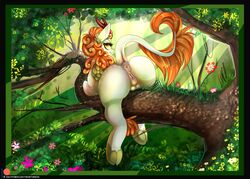 2018 animal_genitalia animal_pussy anus ass autumn_blaze_(mlp) clitoral_winking clitoris equine_pussy female feral flower friendship_is_magic hi_res kirin looking_at_viewer looking_back my_little_pony nature outside patreon plant presenting presenting_anus presenting_pussy pussy raised_tail solo teats theneithervoid tree
