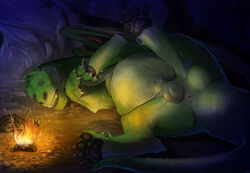 2016 animal_genitalia anus ass ball balls barefoot campfire cave claws disney dragon elliot_(pete's_dragon) feral fire fully_sheathed fur furred_dragon hi_res inside looking_at_viewer lying male male_only narse nude on_side one_eye_closed pawpads paws pete's_dragon pete's_dragon_(2016) presenting presenting_anus presenting_hindquarters raised_leg sharp_claws sharp_teeth sheath slightly_chubby solo spread_legs spreading teeth toe_claws wings