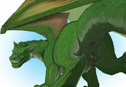2016 animal_genitalia ass balls disney dragon elliot_(pete's_dragon) feral fully_sheathed fur furred_dragon hair hi_res long_neck looking_at_viewer looking_back low-angle_view male male_only membranous_wings narse nude perineum pete's_dragon pete's_dragon_(2016) presenting presenting_hindquarters quadruped raised_tail rear_view sheath solo spread_legs spread_wings spreading wings