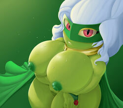 1girl 2018 big_breasts breasts cape chubby clothing female female_only flower green_skin hair hamili huge_ass huge_breasts humanoid looking_at_viewer metal mostly_nude nintendo nipples not_furry nude plant pokémon_(species) pokemon pokemon_dppt pokemorph pose pussy red_eyes rose roserade shortstack simple_background smile solo source_request thick_thighs video_games white_hair wide_hips