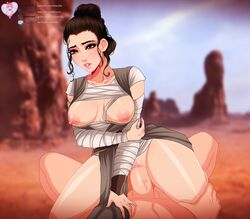 areolae big_breasts breasts brown_eyes brown_hair clothing cowgirl_position desert duo exposed_breasts female hair law-zilla male nipples penetration penis public pussy rey sex star_wars straight thick_thighs thighs vaginal_penetration vein