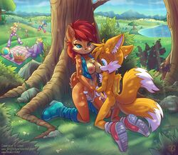 2014 age_difference anthro antoine_d'coolette archie_comics balls black_nose blonde_hair blue_eyes boots bottomless breasts brown_fur bunnie_rabbot canine chipmunk clothed clothing cloud coyote cub detailed_background dipstick_tail duo_focus edit erection female floppy_ears footwear fox fur gloves grass group hair hedgehog hi_res imminent_sex interspecies jacket jumping kneeling lagomorph larger_female long_hair male mammal marine mostly_nude mountain multicolored_tail nipples orgasm outside penis picnic pinniped precum pussy rabbit red_hair rodent rotor_the_walrus sally_acorn sallyhot sega shoes sitting size_difference sky smaller_male smile sonic_(series) sonic_the_hedgehog straight tails tree url video_games walrus water yellow_fur young