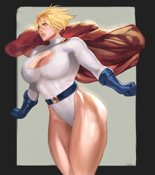 big_breasts blonde_hair breasts cleavage dc female female_only large_breasts lejeanx3 leotard power_girl solo superman_(series) thick_thighs