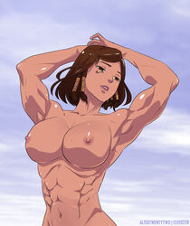 abs altertwentytwo areolae armpits arms_above_head bellybutton big_breasts breasts brown_hair dark-skinned_female dark_skin elee0228 female female_only large_breasts muscles muscular muscular_female nipples nude open_mouth overwatch pharah solo tattoo teeth watermark
