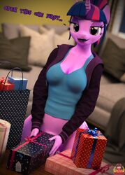 2018 3d_(artwork) anthro anthrofied bag balls bedroom_eyes bottomless breasts cleavage clothed clothing dick_in_a_box dickgirl digital_media_(artwork) equine eyeshadow forsaken_(artist) friendship_is_magic gift half-closed_eyes hoodie horn inside intersex lipstick looking_at_viewer makeup mammal my_little_pony partial_nudity penis penis_base ponytail seductive shirt sofa solo tank_top twilight_sparkle_(mlp) unicorn