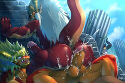anal anal_sex anthro anthro_on_anthro anus ass balls barazoku batzz_(buddyfight) being_watched biceps blush bna_v5 breath bubble_butt claws cowgirl_position cum cum_in_ass cum_in_hair cum_inside cum_on_anus cum_on_balls cum_on_body cum_on_butt cum_on_chest cum_on_face cum_on_leg cum_on_penis dragon drum's_father drum_bunker_dragon english_text erection fangs father future_card_buddyfight hair hi_res horn humanoid_penis incest long_hair looking_down looking_up lying male male/male manly messy muscular nude on_back on_ground on_top open_mouth orgasm orgasm_face outside parent pecs penetration penis presenting presenting_anus presenting_hindquarters presenting_penis reptile saliva scalie sex sharp_claws sharp_teeth sitting smile son spikes spread_legs spreading sweat teeth text thick_penis thick_thighs tongue tongue_out triceps vein veiny_penis