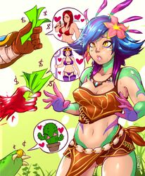 breasts cactus cleavage garen katarina league_of_legends leblanc midriff money neeko riot_games thought_bubble