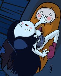 adventure_time areolae bed black_hair blush breasts breasts_out cartoon_network closed_eyes duo female finn_the_human grey_skin hand_over_mouth happyfuntimes high-angle_view human implied_penetration indoors long_hair male marceline medium_breasts night nipples on_bed open_mouth pleasure_face shirt shirt_pull sleeping_bag socks straight tank_top very_long_hair wide_eyed