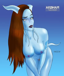 ardham big_breasts blue_skin breasts draenei female horn horns nipples nude pinup tail tattoo warcraft world_of_warcraft