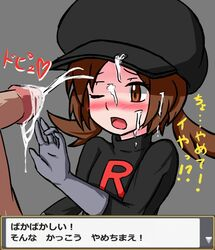 1boy 1girl black_hat black_shirt blush brown_eyes cum cum_on_clothes cum_on_hair ejaculation erection facial female flat_chest furanshisu gloves grey_background grey_gloves hand_up hat heart hud human japanese_text kotone_(pokemon) long_sleeves nose_blush one_eye_closed open_mouth orgasm penis pokemon pokemon_hgss shirt simple_background solo_focus straight talking team_rocket team_rocket_grunt_(cosplay) text text_focus tied_hair translation_request twintails uncensored upper_body