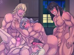 4boys abs absurdres anal artorius_collbrande ass bara black_hair blonde_hair blue_eyes blush city crossover dunban erection facial_hair final_fantasy final_fantasy_xiii gaius_(tales) grabbing grin group_sex highres indoors large_penis lightning_returns:_final_fantasy_xiii long_hair male_focus moaning multiple_boys muscle night nintendo nipples nude open_mouth pecs penis purple_eyes sex silver_hair smile snow_villiers tales_of_(series) tales_of_berseria tales_of_xillia tales_of_xillia_2 teeth testicles thefreaknextdoor tongue uncensored white_hair wince window xenoblade xenoblade_(series) yaoi