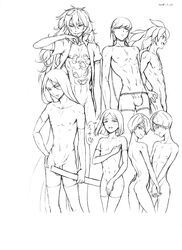 amethyst_(houseki_no_kuni) areolae bare_chest bob_cut bort boxer_briefs braid bulge convenient_censoring covering covering_chest covering_crotch dated elbow_gloves flaccid gloves graphite_(medium) hair_over_one_eye hand_holding hand_on_hip highres hokuro holding_hands houseki_no_kuni humanization long_hair looking_at_viewer male_focus male_only male_underwear mechanical_pencil morganite_(houseki_no_kuni) multiple_boys naked_shirt navel neptunite_(houseki_no_kuni) nude parted_lips pencil penis shirt simple_background smile thighhighs traditional_media twintails underwear very_long_hair yellow_diamond_(houseki_no_kuni)