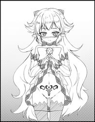 blush cat_and_rabbit demon_girl demon_horns detached_sleeves elsword frown highres horns long_hair luciela_r._sourcream monochrome navel panties panty_pull pointy_ears pubic_tattoo pussy_juice pussy_juice_trail ribbon skirt skirt_lift star star-shaped_pupils symbol-shaped_pupils tattoo underwear