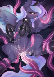 2018 absurd_res alicorn anatomically_correct anatomically_correct_pussy bondage bondage bound chains cum equine female friendship_is_magic hi_res horn lonelycross mammal my_little_pony penetration princess_luna_(mlp) pussy solo spread_legs spreading tentacle tongue tongue_out vaginal_penetration vaginal_penetration wings