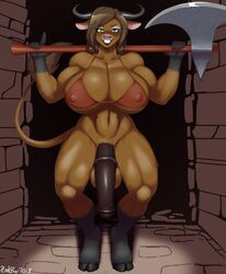 animal_genitalia animal_penis anthro axe balls big_breasts bikini bikini_bottom blush bottomless bovine breasts brown_fur brown_hair cattle cleavage clothed clothing dickgirl equine_penis fur green_eyes hair huge_breasts intersex looking_at_viewer mammal melee_weapon muscular muscular_dickgirl muscular_intersex navel partial_nudity penis plankboy solo swimsuit weapon