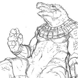 animal_genitalia claws crocodile crocodilian doublebite_(artist) genital_slit greyscale league_of_legends male monochrome muscular muscular_male pecs reclining renekton reptile riot_games scalie sketch slit video_games