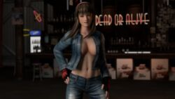 3d breasts brown_hair collarbone dead_or_alive dead_or_alive_5 grey_eyes hands_on_hips hitomi hitomi_(dead_or_alive) hitomi_(doa) jean_jacket jeans logo looking_at_viewer neon_lights red_gloves smile stool unzipped_pants