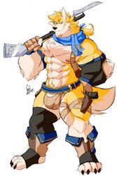 anthro bulge canine clothed clothing daikitei gun humanoid_penis looking_at_viewer male male_only mammal muscular muscular_male pecs penis penis_base pubes ranged_weapon smile solo standing underwear weapon