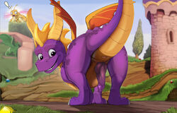 animal_genitalia animal_penis anus arthropod ass dragon dragonfly duo erection horn insects knot looking_at_viewer looking_back male membranous_wings narse penis presenting presenting_hindquarters scalie smile solo_focus sparx spyro spyro_the_dragon surprise video_games western_dragon wings
