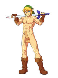 1boy abs balls big_penis blonde_hair blue_eyes boots fingerless_gloves foreskin gloves hair link male male_only master_sword mattie_v muscle muscular muscular_male nintendo nude penis pinup simple_background solo standing sword the_legend_of_zelda thick_penis uncut video_games white_background