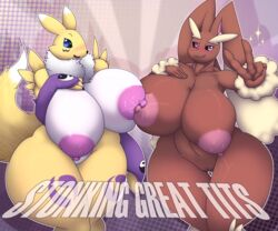 3_fingers 5_fingers abstract_background big_breasts blush breast_frottage breast_squish breasts chest_tuft clothing digimon duo english_text female fingerless_gloves fur gloves group huge_breasts lactating looking_at_viewer lopunny megustalikey milk multicolored_skin nintendo nipples pokémon_(species) pokemon pussy renamon rubbing small_head sparkle text thick_thighs tuft two_tone_skin v_sign video_games