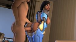 3d animated ass bouncing_ass bouncing_breasts curvy dark-skinned_female dat_ass erect_nipples female from_behind futuretist huge_areolae huge_breasts male no_sound overwatch pharah puffy_nipples sex short_hair source_filmmaker thick_lips voluptuous webm wide_hips