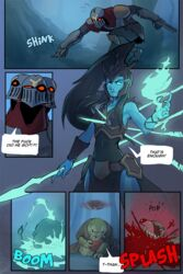 arbuzbudesh armor blood catfish comic death explosion female fish gameplay_mechanics ghost glowing glowing_eyes hair human humanoid kalista league_of_legends long_hair male mammal marine melee_weapon polearm riot_games spear spectre speech_bubble spirit tahm_kench_(lol) text undead video_games weapon wrist_blades zed_(lol)