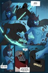 arbuzbudesh armor blush breasts comic covering covering_breasts female ghost glowing glowing_eyes hair human humanoid kalista league_of_legends long_hair male mammal melee_weapon navel nipples nude penis polearm punching pussy riot_games shadow_copy spear spectre speech_bubble spirit stripped text undead video_games weapon zed_(lol)