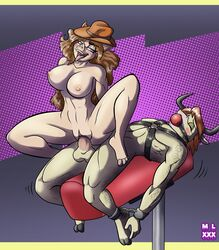 anthro ball_gag balls big_breasts blush bondage bound bovine breasts brown_hair cattle closed_eyes cowboy_hat domination eyelashes female femdom gag hair handcuffs hat horn large_breasts long_hair male male/female mammal mlock nipples on_top penetration penis pig porcine purple_eyes pussy reverse_cowgirl_position sex shackles suea_sowwet tongue tongue_out vaginal_penetration