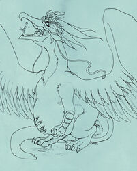 2018 after_sex animal_genitalia animal_penis avian balls beak burping closed_eyes cormorant eveara feral gryphon hand_on_stomach male male_pred monochrome open_beak open_mouth penis post_vore saliva standing story story_in_description tongue vore