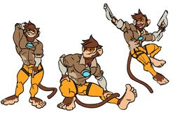 2017 5_fingers abs action_pose anthro armwear barefoot biped brown_fur brown_hair brown_tail bulge clothed clothing cosplay crouching digital_drawing_(artwork) digital_media_(artwork) dual_wielding eyewear fangs feet front_view fully_clothed fur goblintown goggles gun hair hand_behind_head hand_on_bulge hand_on_leg holding_bulge holding_leg holding_object holding_weapon humanoid_feet humanoid_hands jumping light_skin long_tail looking_aside looking_away looking_back male mammal monkey multiple_poses muscular muscular_male open_mouth open_smile overwatch pants pecs penis_outline plantigrade pose primate raised_arm ranged_weapon rolled_up_sleeves shirt simple_background smile smirk smug soles solo spread_legs spreading stretching suspended_in_midair tan_skin tracer_(cosplay) video_games weapon white_background wide_stance