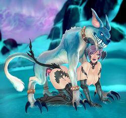 1girl ahe_gao au_ra bestiality big_penis boots breasts claws cum doggy_style female feral final_fantasy final_fantasy_xiv furry gloves heterochromia interspecies large_breasts outdoors penis sex sin_faye size_difference