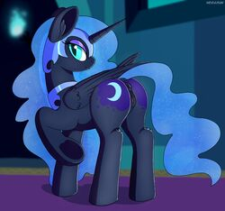 2018 alicorn animal_genitalia animal_pussy anus armor ass cutie_mark dock equine equine_pussy fangs feathered_wings feathers female feral friendship_is_magic half-closed_eyes helmet hi_res horn jewelry looking_at_viewer looking_back mammal my_little_pony necklace negasun nightmare_moon_(mlp) pussy seductive slit_pupils smile solo wings