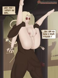 1boy 1girl barefoot bbc big_ass big_breasts blonde_hair breasts colored cosplay crossover dark-skinned_male dark_skin dialogue erection feet female fingerless_gloves forehead_jewel from_behind from_behind_position glasses gloves interracial lara_croft large_ass large_breasts legs_apart legs_up lifting lipstick male nail_polish naked naruto nipples nude penis pigtails queentsunade red_nails sex soles spread_legs straight text toes tomb_raider tsunade