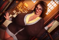 3d big_breasts brown_hair female freckles gilf glasses gmilf granny grey_hair huge_breasts library melika_samverdi milf old_woman older_female orange_eyes original original_character rasmus-the-owl stretch_marks thick_thighs