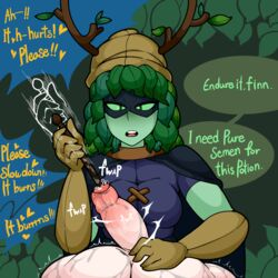 2018 5_fingers adventure_time antlers begging breasts cartoon_network clothed clothed/nude clothed_female_nude_male clothing cock_and_ball_torture dialogue domination duo english_text ent erection faceless_male female femdom finn_the_human flora_fauna foreskin gloves green_eyes green_skin half-closed_eyes heart hi_res horn human humanoid huntress_wizard interspecies leaf_hair light_skin m0n1e male male_pov mammal not_furry nude pale_skin penetration penis plant precum straight text uncut urethral urethral_penetration wand
