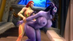 1futa 2girls 3d ahe_gao anal animated bent_over blue_eyes blue_hair bouncing_breasts breasts dickgirl dickgirl/female draenei female from_behind full_body_tattoo futa_on_female futa_with_female futanari glowing_eyes glowing_tattoo human intersex interspecies large_breasts long_hair moaning nipples noname55 nude pointy_ears ponytail purple_skin red_hair sex sound source_filmmaker standing tail tattoo webm world_of_warcraft