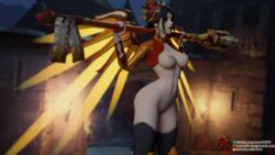 3d black_hair blender breasts chinese_clothes looking_at_viewer mercy nail_polish nipples overwatch pussy zhuque_mercy