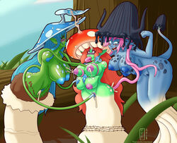 2018 anthro armless ass big_breasts blue_hair blush breasts female forest fungi_fauna group hair huge_breasts humanoid lactating multi_breast nipples nude open_mouth penetration pink_hair pussy pussy_juice red_hair smile surprise tentacle tentacle_in_mouth thetransformtentacle tongue tongue_out tree vaginal_penetration wide_hips
