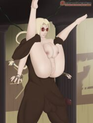 1boy barefoot bbc big_ass big_breasts blonde_hair breasts colored cosplay crossover dark-skinned_male dark_skin erection feet female female fingerless_gloves forehead_jewel from_behind from_behind_position glasses gloves interracial lara_croft large_ass large_breasts legs_apart legs_up lifting lipstick male nail_polish naked naruto nipples nude penis queentsunade red_nails sex soles spread_legs straight text toes tomb_raider tsunade twintails