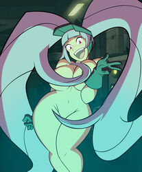 1girl bare_shoulders big_breasts busty cleavage covering covering_breast curvy detailed_background entrapta eyelashes female female_only front_view gloves grimphantom hat hourglass_figure human indoor inside long_hair looking_at_viewer naked nude open_mouth pose posing red_hait room she-ra_and_the_princesses_of_power shiny shiny_skin solo solo_female standing twintails very_long_hair voluptuous wide_hips