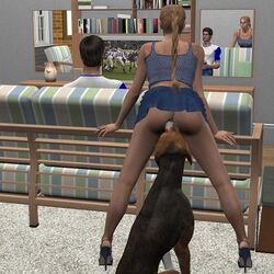 3d ass blonde_hair canine caught cheating female female husband_and_wife legs_up mirror zoophilia zoophilia