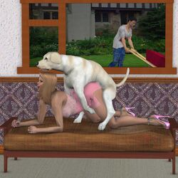 3d all_fours ass cheating dog doggy_style female husband_and_wife long_hair open_mouth zoophilia