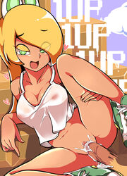 1up blonde_hair blush breasts cleavage clitoris clothed_sex collarbone covered_nipples cum cum_in_pussy eyebrows_visible_through_hair female gokuu_(acoloredpencil) green_eyes green_footwear hand_on_own_thigh heart highres koopa_troopa long_hair mario_(series) medium_breasts midriff navel nintendo no_panties open_mouth overflow penis personification pussy seductive_smile sex shoes sitting sleeveless smile sneakers solo speech_bubble spread_legs straight_hair super_mario_bros. tank_top thigh_grab vaginal_penetration