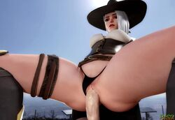 3d animated ashe_(overwatch) blender cowgirl_position female hat male overwatch panties_aside penis pussy rastafariansfm sex short_hair sound thong vaginal webm white_hair