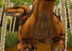 2018 anus ass brown_scales claws detailed_background dinosaur female feral forest looking_back nude open_mouth outside plump_labia presenting presenting_anus presenting_hindquarters presenting_pussy pussy raised_tail raptor rear_view reptile scales scalie slit_pupils solo stripes teeth theropod tree yaroul yellow_eyes yellow_scales