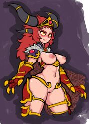 alexstrasza animal_humanoid areola biped blizzard_entertainment blush bracelet breasts cape clothed clothing dragon_humanoid erect_nipples eyebrows eyelashes female hair horn humanoid jewelry long_hair looking_at_viewer mammal necklace nipples not_furry nude partially_clothed pussy reccand red_hair simple_background smile solo standing sweat thick_thighs video_games voluptuous warcraft