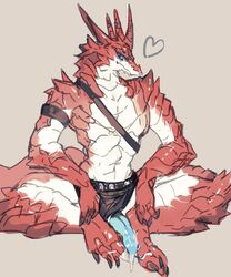 anthro blue_eyes blue_penis claws clothing erection heart kemono kiyo3014 loincloth looking_at_viewer male penis plantigrade poking_out scalie solo